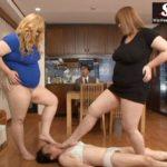 巨女コンビ紀里谷クラウディア真穂と清瀬リアナが女装男子をオモチャにする圧迫プレイ